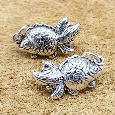 3 Sterling Silver Good Fortune Fish Charms 2-Sided 925 Silver Lucky Pendants