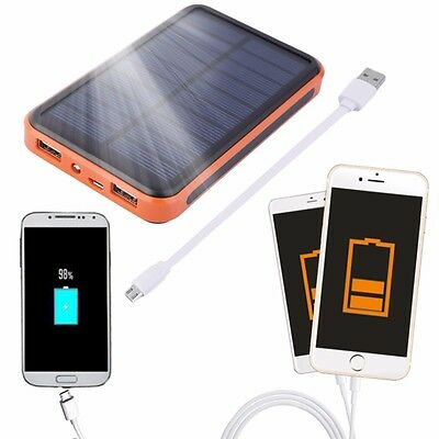 10000mAh Dual-USB WATERPROOF SOLAR POWER BANK Battery Charger for Room Phone New