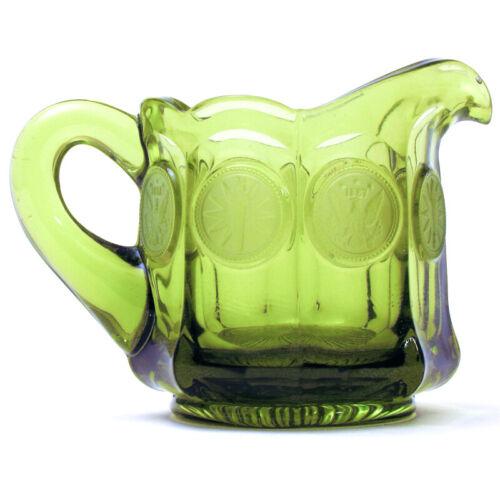 FOSTORIA Olive Green Coin Glass CREAMER