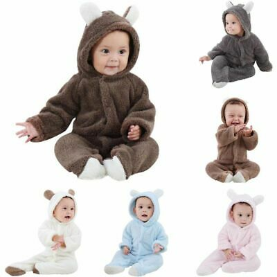 Bear Hooded Romper Jumpsuit Bodysuit Clothes Newborn Baby Bo