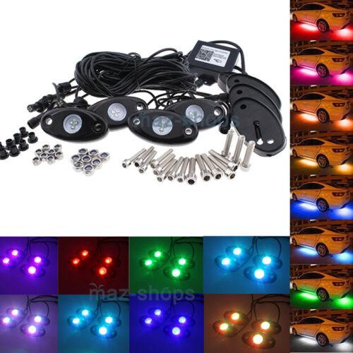 4Pcs 9W RGB Cree LED Rock Light Underbody For UTV POLARIS RZR 4 XP 900 1000