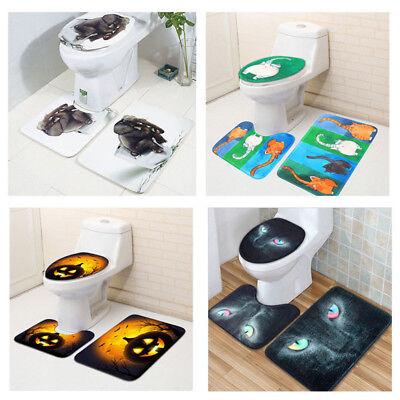 3PCS Bathroom Mat Set Non-Slip Bath Rug Door Carpet Toilet Lid Cover Halloween
