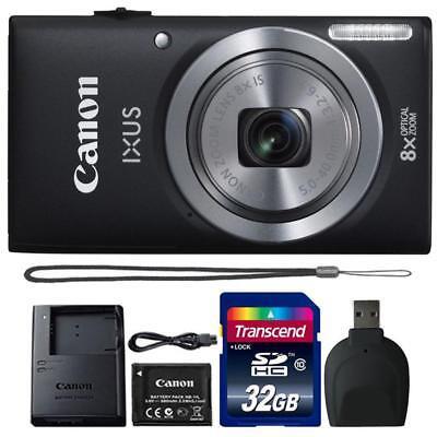Canon IXUS 185 / ELPH 180 20MP Digital Camera Black and 32GB Accessory Bundle