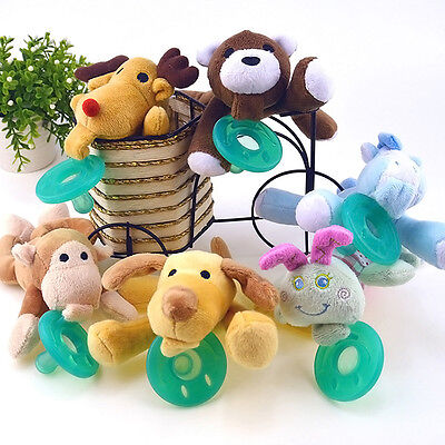 Animal Baby Nipple Infant Children Silicone Pacifiers with Cuddly Plush Funny~