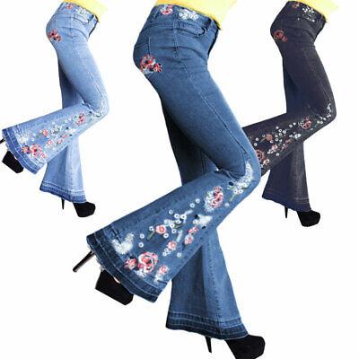Plus Size Women Flare Denim Embroider Jeans Bell Bottom Stretch Pants - Women's Bell Bottom Jeans
