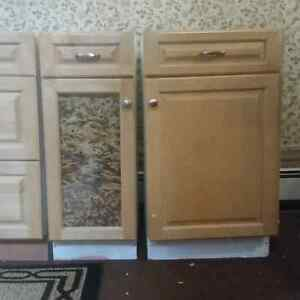 3 NATURAL MAPLE BASE KITCHEN CABINETS