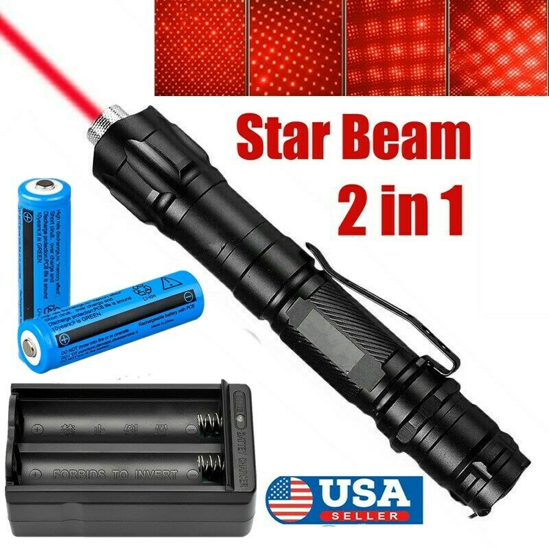 900Miles 2in1 Red Laser Pointer 650nm Star Cap Bright Lazer+Rechargeable Battery