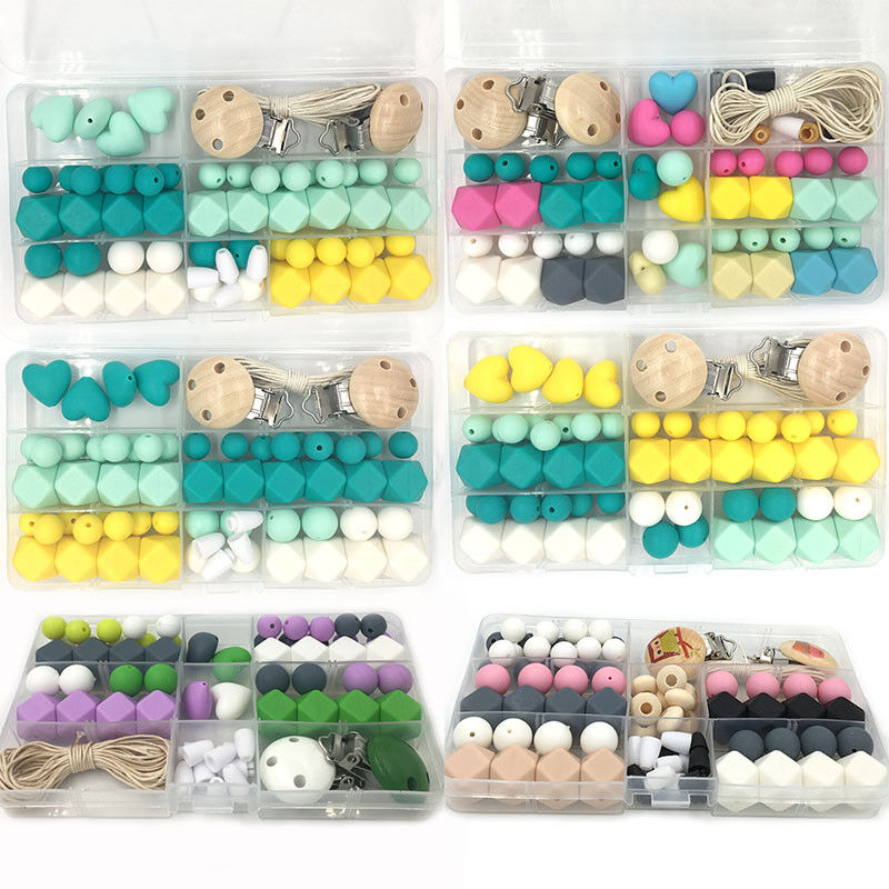Silicone Teething Beads Kit Box Baby Nursing Chew Pacifier Chain Necklace Making