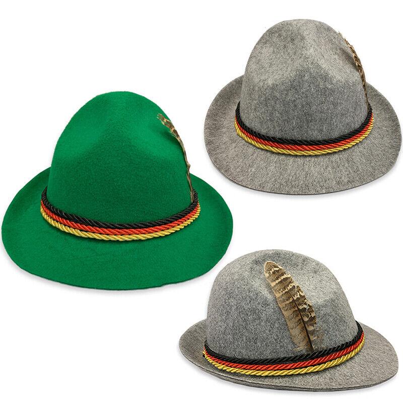 Herren Jungen Tiroler Hut Trachtenhut Oktoberfest Party Fedora Bayern Kostüm Hat