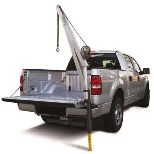 Truck CRANE & Receiver Hitch - 20ft Strap - 700 lbs Capacity - 4ft Boom - Manual