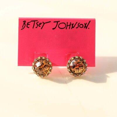 New Betsey Johnson Leopard Button Stud Earrings Gift Fashion Women Party Jewelry