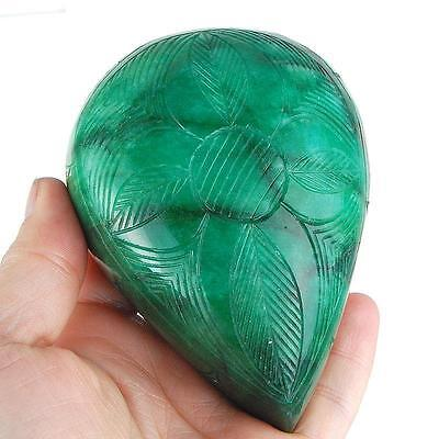107x80mm (2942cts) PEAR-CARVED FOREST-GREEN CERTIFIED NATURAL BRAZILIAN EMERALD