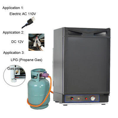 Black Refrigerator (Smad 1.5 Cu ft 3-Way Propane Gas Fridge DC 12V Gas RV Truck Camper Refrigerator)