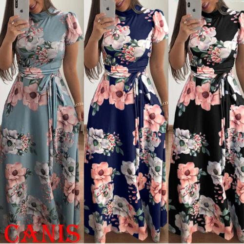 Women's Summer Boho Floral Short Sleeve Long Maxi Dress Party Beach Sundress USA
