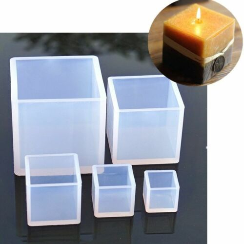 1pc Silicone Candle Mold 3D Cube Shape Moulds Resin Plaster Crafts Soap Candle M