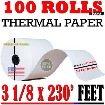 "3 1/8"" x 230 Thermal Receipt Paper POS Cash Register 50 Rolls x 2 cases BPA Free"