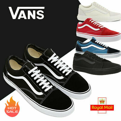 VAN Old Skool Skate Shoes Black/White All Size Classic Canvas Sneakers UK STOCKS