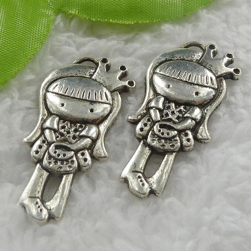 Free Ship 80pcs tibet silver girl charms pendant 38X18mm B1167
