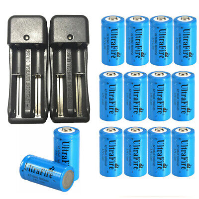 1800mAh 16340 CR123A 3.7V Rechargeable 16340 Li-Ion Battery With Smart Charger 1800mah Li Ion Battery