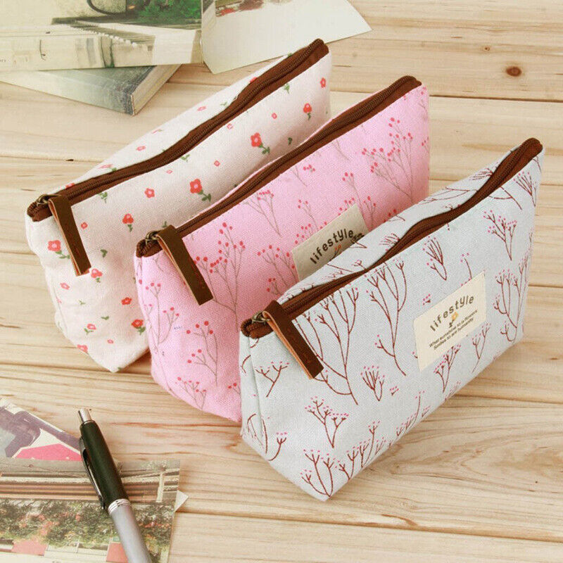 Floral Canvas Student Pencil Stationery Bag Case Cosmetic Ma