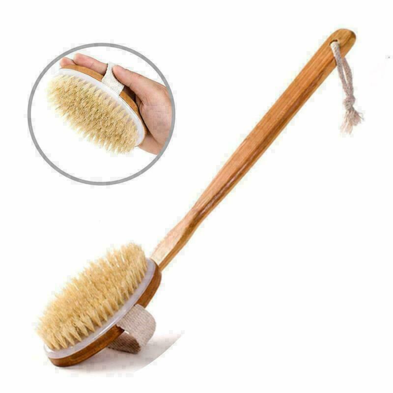 Natural Bristle Wooden Bamboo Bath Shower Body Dry Skin Brush Spa Back Scrubber