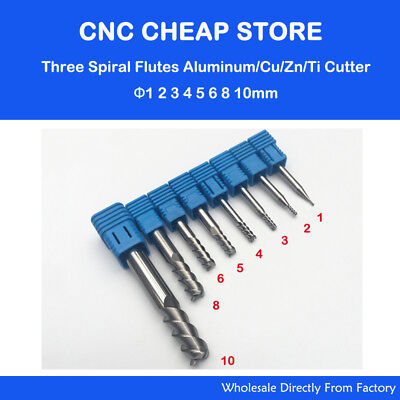 8pc Three 3 Flute Aluminum Cutter End Mill Tool Cutting Bit Cnc Router Engraving