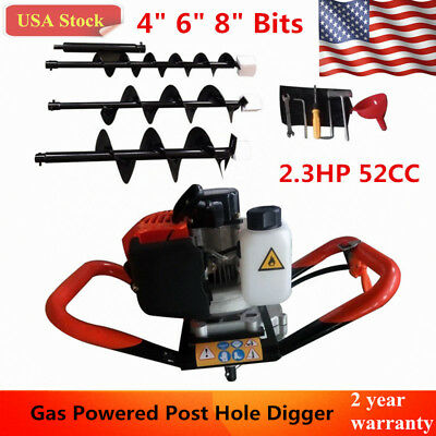 2.3hp 52cc Gas Powered Post Hole Digger Machine 4 6 8 Earth Auger Bit Drill