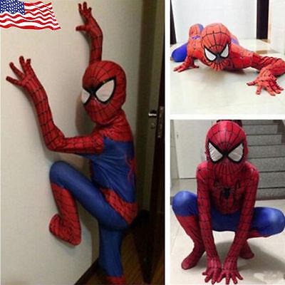Halloween-spiderman (Adult Halloween Spiderman Costume Cosplay Mask spandex Superhero zentai Jumpsuit)
