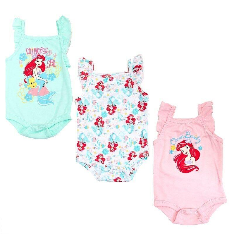 Disney Baby Girls Little Mermaid Ariel 3 Pack Tank One-Piece