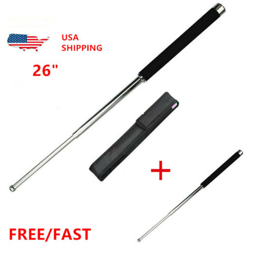 """26"""" Multifunctional Telescopic Defense Sticks Whip Retractable Outdoor Silive US"""