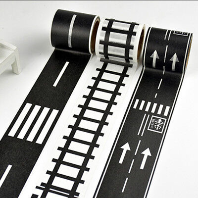 5M Black Wide Railway Road Washi Tape Traffic Road DIY Adhesive Masking Tape 1PC