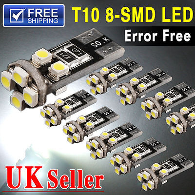 CAR SIDE LIGHT BULBS CANBUS ERROR FREE T10 501W5W 8 SMD LED XENON WHITE/ICE BLUE