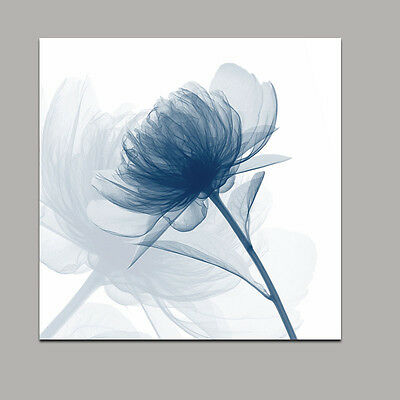 Abstract Canvas Print Painting Pictures Home Decor Wall Art Blue Flower Framed