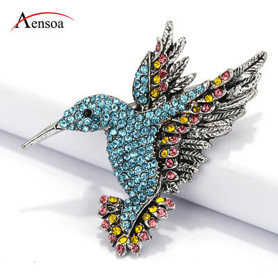Cute Fashion Women Blue Rhinestone Crystal Hummingbird Bird Brooches Pin Jewelry