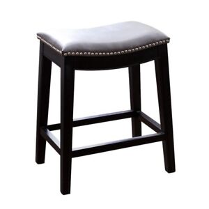 Magnificent Abbyson Living Rivoli Grey Leather Nailhead Trim Counter Stool Uwap Interior Chair Design Uwaporg