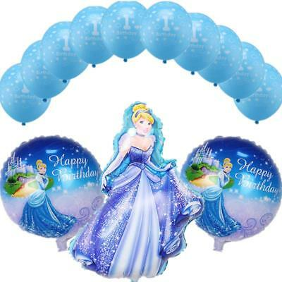 13pcs Princess Cinderella Foil Balloons 1st Birthday Party Supplies Girls - 1st Birthday Girl Party Themes