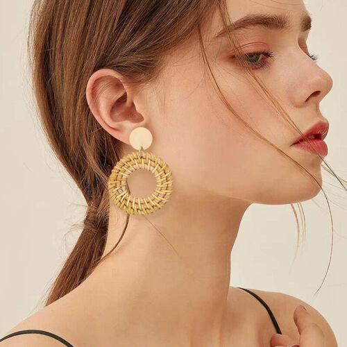 Rattan Earrings for Women Handmade Straw Wicker Braid Hoop D