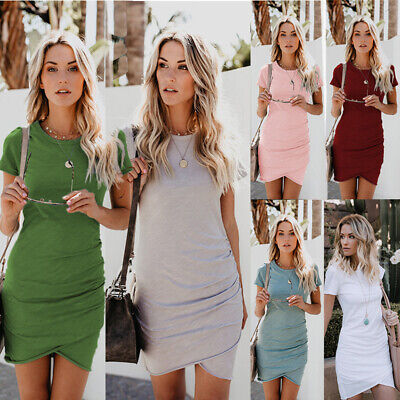 Womens Summer T Shirt Dress Sexy Slim Tunic Dress Office Pencil Tube Wrap Dress