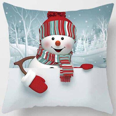 "Christmas Snowman Pillow Case Covers 18x18"" Sofa Car Cushion Cover Xmas Decor"