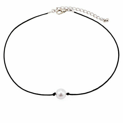 Handmade Faux Leather Choker Chain Simple Pearl Pendant Necklace Black Jewelry Pearl Pendant Leather Necklace