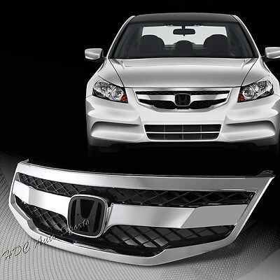 For 2011-2012 Honda Accord Sedan Chrome ABS Front Hood Honeycomb Grille Grill