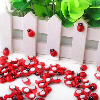 100pcs Mini Wooden Ladybug Ladybird Sticker Adhesive Fridge Party Decor Craft (Ladybug Decorations)