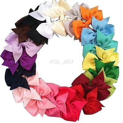 20Pcs Kids Baby Girls Hair Bows Band Grosgrain Boutique Alligator Clip Ribbon