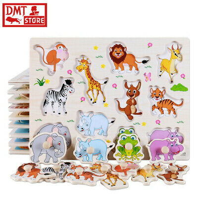 Kids Alphabet Puzzle Cartoon Animals Wooden Puzzles Hand Grab Board Educational