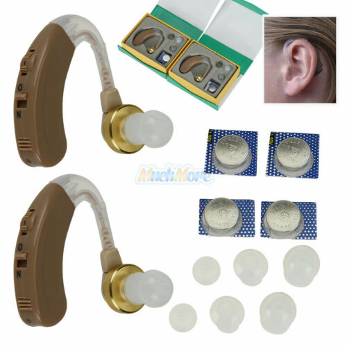 A Pair of Digital Hearing Aid Aids Kit Behind the Ear BTE So