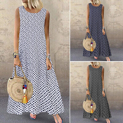 ZANZEA UK Women Summer Sleeveless Polka Dot Long Dress Casual Loose Maxi Dresses