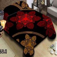 Burgundy Black-King Size Korean Style Mink Blanket-Two Ply-Heavy Duty 10 LBS Weight