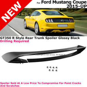 For Mustang 15-17 Coupe GT350R GT350 Glossy Black Spoiler Wing M
