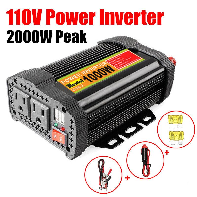 1000W 2000W Peak Car Solar Power Inverter DC 12V To AC 110V Sine Wave Converter