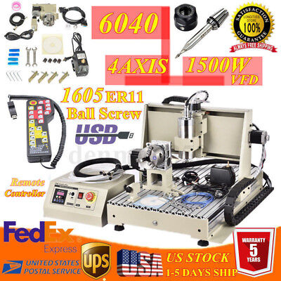 Usb 4 Axis Cnc 6040 Router Engraver Engraving Milldrilling Machine 1.5kw Rc